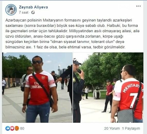Bakıda erməni futbolçunun formasını geyinən azarkeş saxlanıldı - FOTO, fotoşəkil-3