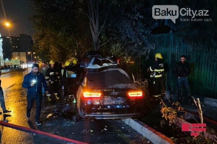 """Bakıda """"Lada"""" qırmızı işıqda keçdi, toqquşduğu """"Audi"""" yandı - VİDEO, fotoşəkil-4"""