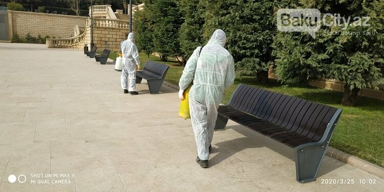Bakı parklarında dezinfeksiya işləri aparılır - FOTO / VİDEO, fotoşəkil-6