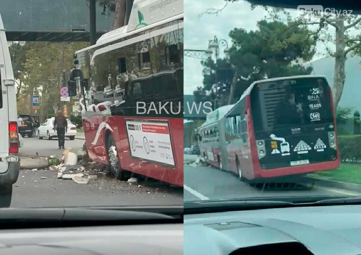 """18 metrlik """"BakuBus"""" qəzaya uğradı - FOTO (YENİLƏNİB), fotoşəkil-1"""