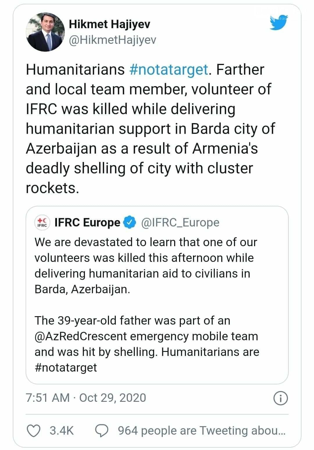 Hikmət Hacıyev: BQXK-nin könüllüsü Bərdədə humanitar dəstək verərkən öldürülüb, fotoşəkil-1