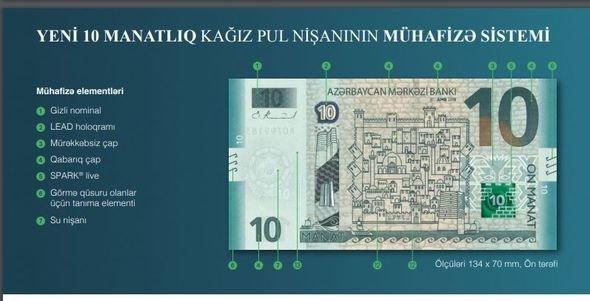 Bakıda yeni on manatlıq dövriyyəyə buraxıldı - FOTO, fotoşəkil-1
