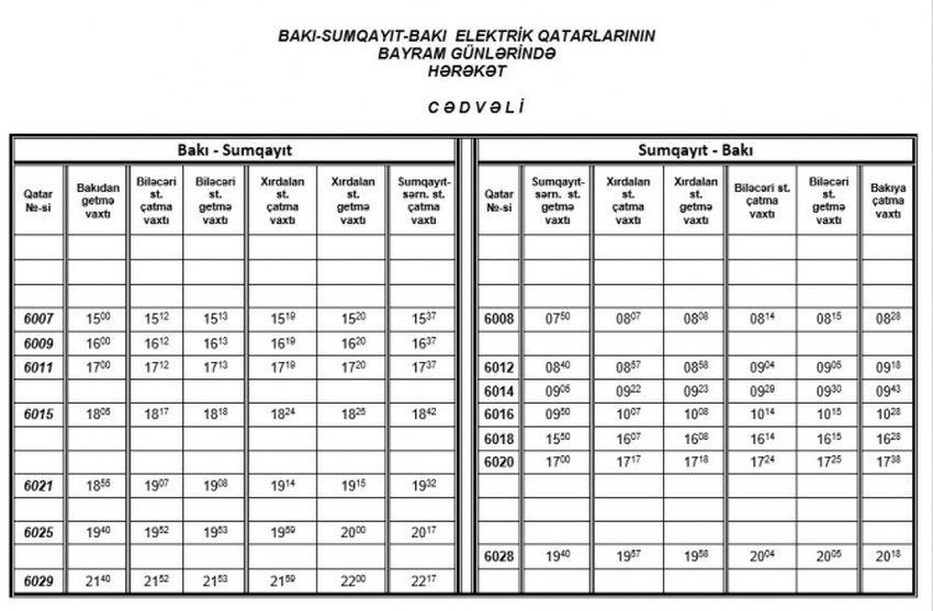 Bakı-Sumqayıt qatarları bayram günlərində necə işləyəcək? - CƏDVƏL, fotoşəkil-1